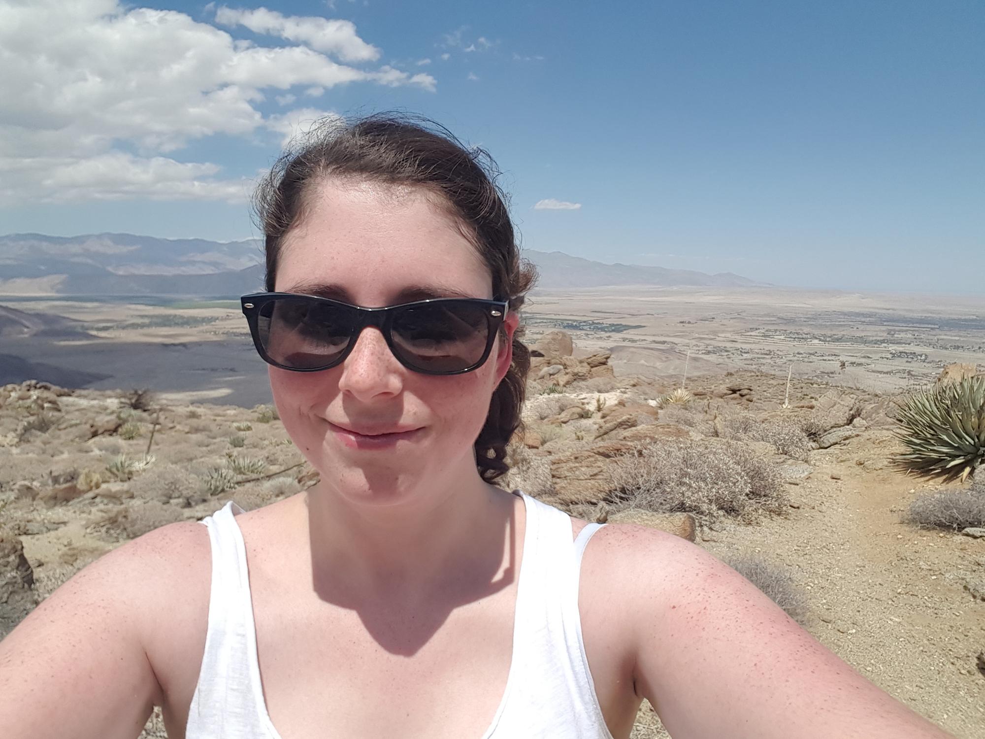 On ne le voit pas tout au fond à droite, il y a la Salton Sea, un lac salé en plein désert.